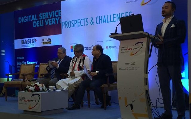 CEO and Founder of VU Mobile Ltd Kaymun Amin speaks at the 'Digital Service delivery: prospects & challenges' seminar during the 11th BASIS SoftExpo 2017