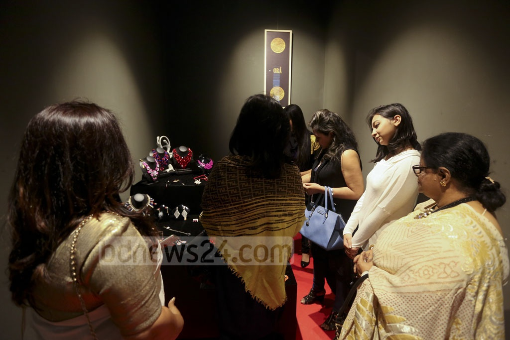 Visitors fill the hall at Gulshan's Edge Gallery on the first day of Ora's jewellery exhibition.