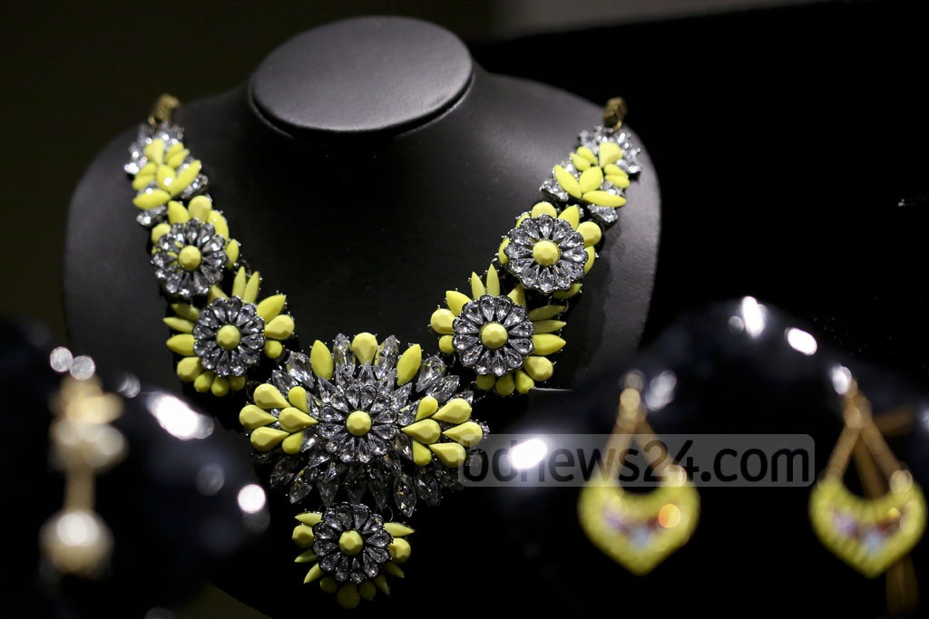 Necklaces by Ora on display at the brand's exhibition at Gulshan's Edge Gallery on Friday.