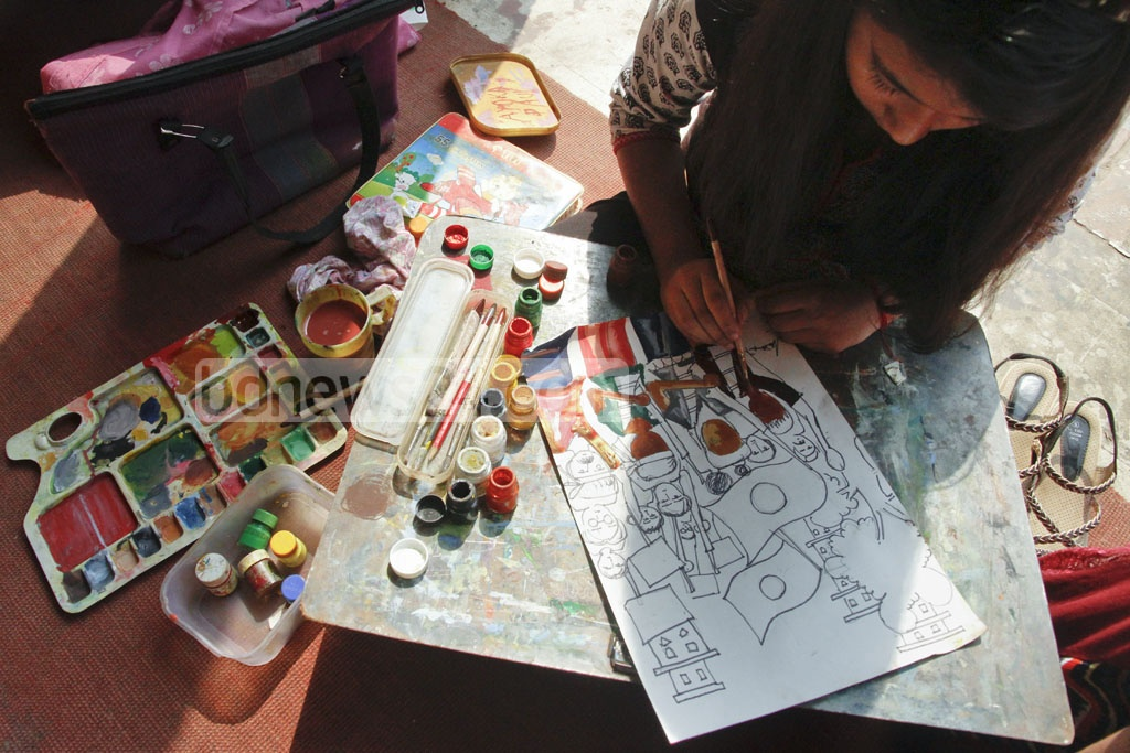 Child participants at a painting competition on the Language Movement at the Dhaka University on Friday. Photo: tanvir ahammed