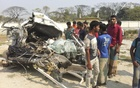 A head-on collision between a bus and a microbus leaves 13 people dead and 28 injured at Narsinghdi's Belabo Upazila on Sunday.