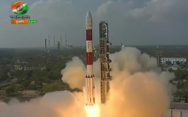 Screengrab from live telecast by Indian state broadcaster Doordarshan.