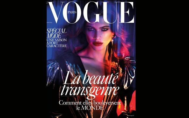Valentina Sampaio on the cover of the March 2017 edition of Vogue Paris. Image tweeted by @VogueParis