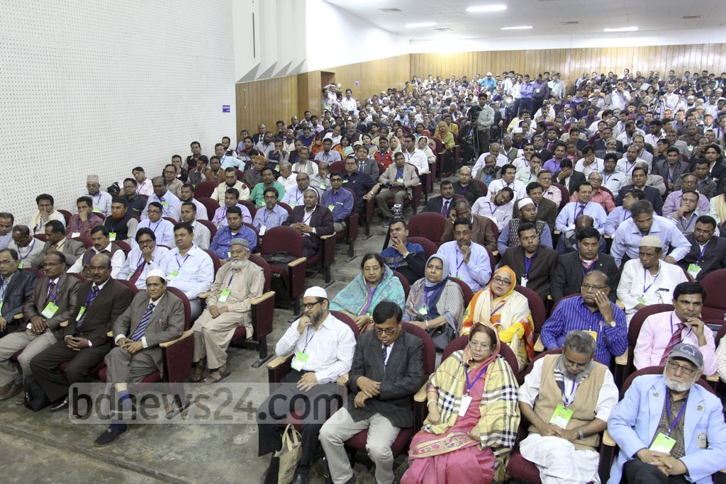 Participants attend the Bangladesh College Teachers' Association National Conference at Dhala's Engineers Institute auditorium on Saturday.