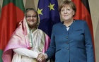 German Chancellor Angela Merkel meets Bangladesh Prime Minister Sheikh Hasinai during the 53rd Munich Security Conference in Munich, Germany February 18, 2017. Reuters