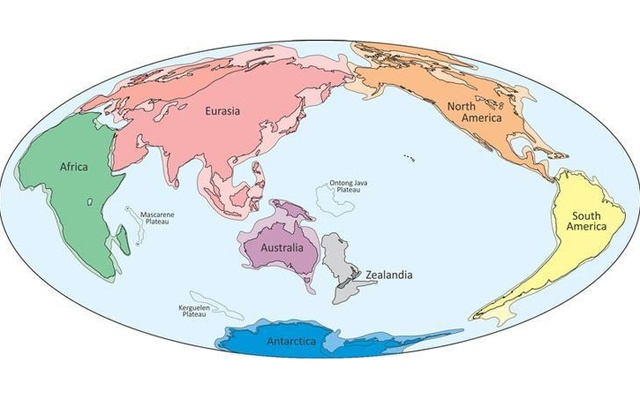An illustration provided to Reuters Feb 18, 2017 shows what geologists are calling Zealandia (C), a continent two-thirds the size of Australia lurking beneath the waves in the southwest Pacific. GNS Science Research Institute via Reuters