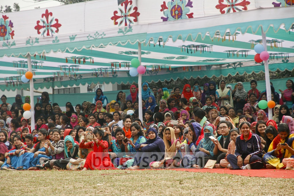 A section of the audience at the Eden Mohila College at the closing ceremony of their annual sports competition on Sunday.