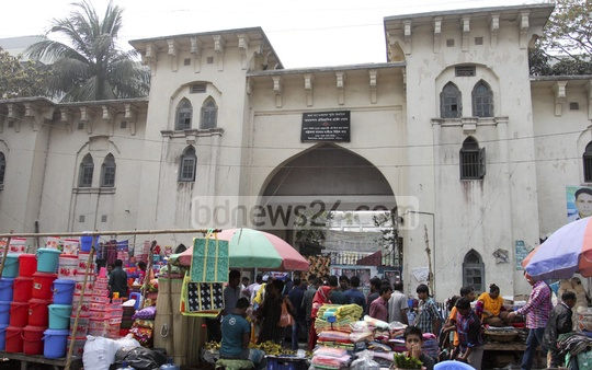 The historic Dhaka Medical College gate , where demonstrations for Bangla as the state language began on Feb 21, 1952., is marked by a sign, but no further initiative has been taken to commemorate the spot. Photo taken Saturday. Photo: asif mahmud ove