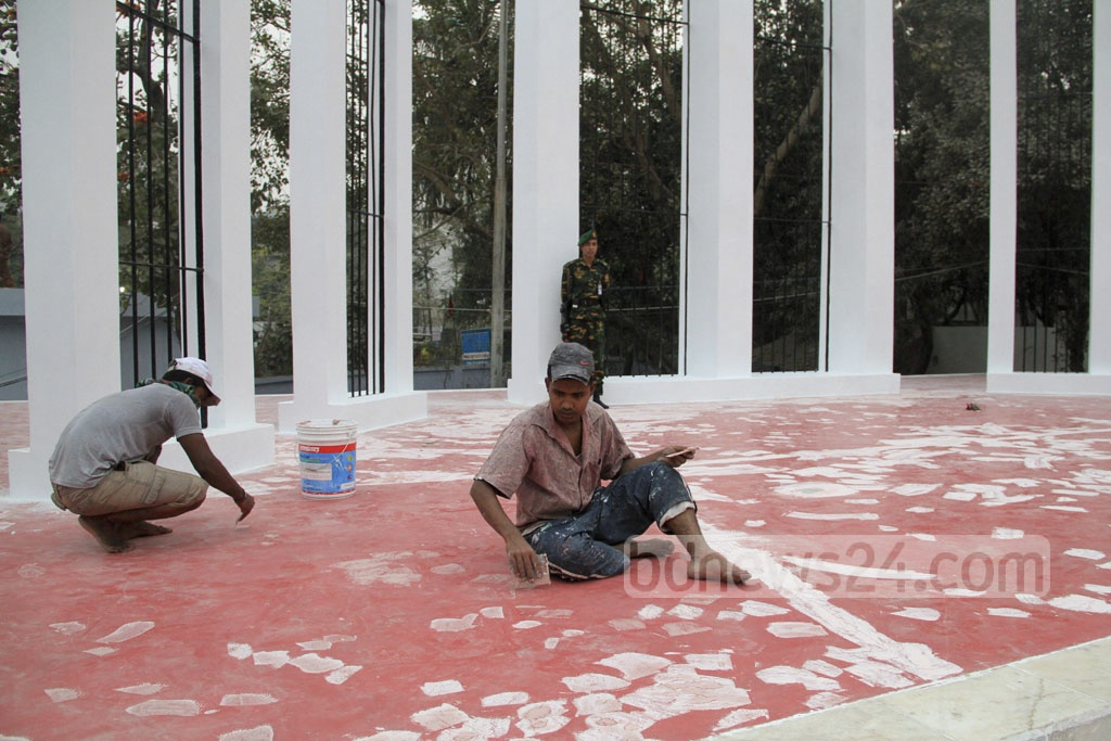 The Shaheed Minar premises are being cleaned up.