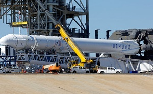 A SpaceX Falcon 9 rocket, in a horizontal position, is readied for launch on a supply mission to the International Space Station on historic launch pad 39A at the Kennedy Space Center at Cape Canaveral, Florida, US, February 17, 2017.