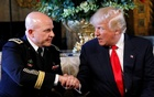 US President Donald Trump shakes hands with his new National Security Adviser Army Lt Gen HR McMaster after making the announcement at his Mar-a-Lago estate in Palm Beach, Florida US, Feb 20, 2017. Reuters