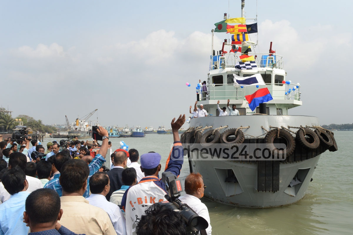 Balloons are released as Kandari-12, a newly-constructed rescue vessel, officially begins its journey at the Chittagong Port on Thursday. Photo: suman babu