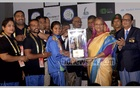 Prime Minister Sheikh Hasina hands over the trophy for Roll Ball World Cup Women's Championship to the Indian team on Thursday. Photo: PID