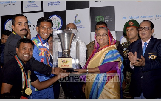 India also took home the 2017 Roll Ball World Cup Men's Championship. Prime Minister Sheikh Hasina handed over the trophy on Thursday. Photo: PID