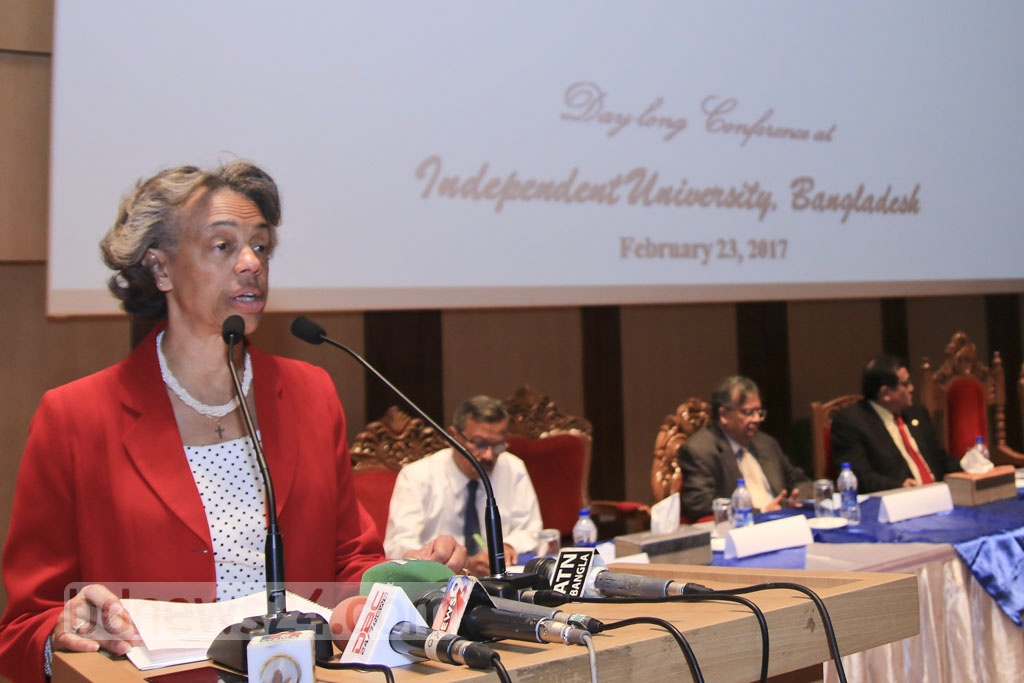US Ambassador Marcia Bernicat addresses a conference at the Independent University, Bangladesh (IUB) on Thursday.