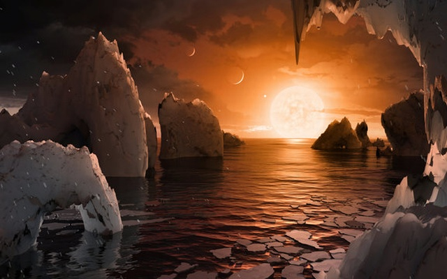 An artist's depiction shows the possible surface of TRAPPIST-1f, on one of seven newly discovered planets in the TRAPPIST-1 system that scientists using the Spitzer Space Telescope and ground based telescopes have discovered according to NASA, in this illustration released February 22, 2017. Courtesy NASA/JPL-Caltech/Handout via Reuters