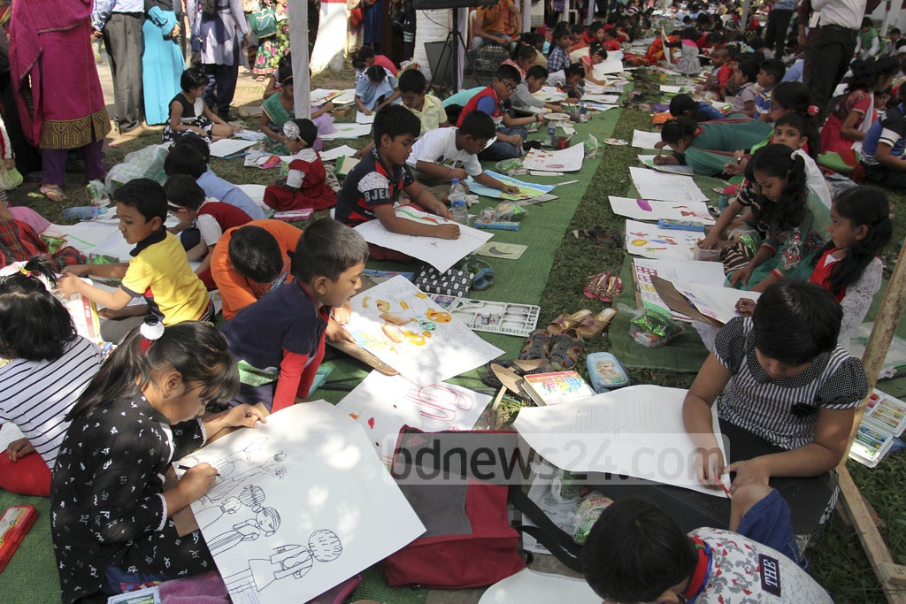 Children take part in an art competition at Abul Barkat Memorial Museum at Dhaka's Palashi on Friday. Photo: asif mahmud ove
