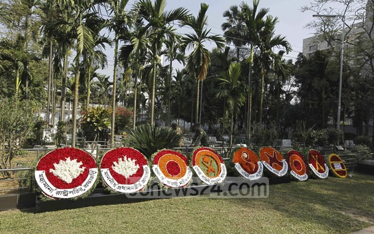 Floral wreaths at the graveyard as a sign of respect to the BDR mutiny victims in Banani on Saturday. The officers were killed in 2009 in rebellion inside Pilkhana BDR headquarter.