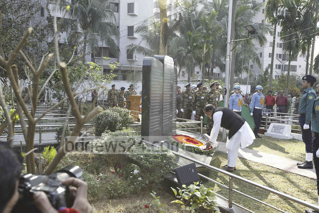 Paying respect to the BDR mutiny victims in Banani on Saturday. At least 74 people, including 57 army officials, were killed in 2009 in rebellion inside Pilkhana BDR headquarter.
