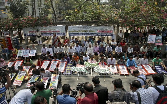 Activists of the National Committee to Protect Oil, Gas, Minerals, Power and Port took part in a sit-in demonstration in front of the National Press Club in the capital to protest against the Rampal power plant which, the Committee says would destroy the Sundarban mangrove. Photo: tanvir ahammed