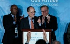 Tom Perez addresses the audience after being elected Democratic National Chair during the Democratic National Committee winter meeting in Atlanta, Georgia. Feb 25, 2017. Reuters