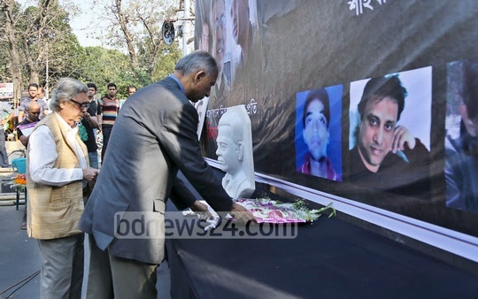 Paying respects to the freethinking writers who have been killed in militant attacks; Ganajagaran Mancha organised the programme at Shahbagh on writer-blogger Avijit Roy's second death anniversary on Sunday.