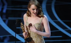 89th Academy Awards - Oscars Awards Show - Best Actress winner Emma Stone accepts her award for La La Land. Reuters