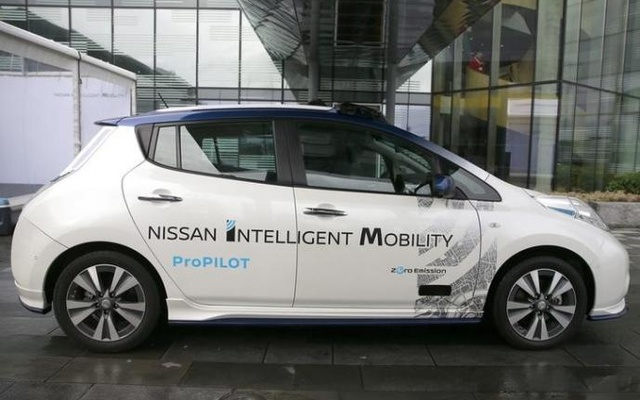 A modified Nissan Leaf, driverless car, is seen during a pause in its first demonstration on public roads in Europe, in London, Britain February 27, 2017. Reuters
