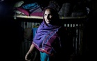 Rohingya Muslim refugee Sanmaraz, whose husband is in prison on charges of carrying yaba, describes her story in front of a Reuters TV camera inside her room in the Leda Unregistered Refugee Camp, in Teknaf, Bangladesh, February 15, 2017. Reuters