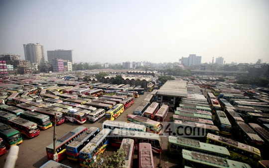 Buses inside Syedabad Bus Terminal on the second day of a nationwide transport strike. Photo: tanvir ahammed