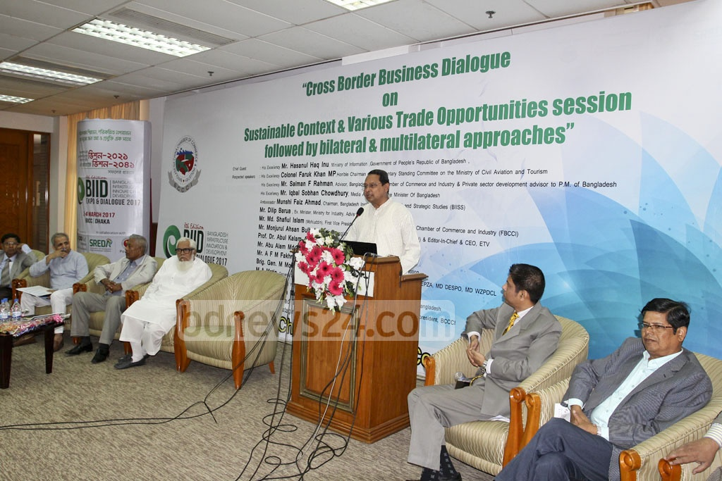 Information Minister Hasanul Haq Inu speaking about transnational trade at Bangabandhu International Conference Centre on Friday.