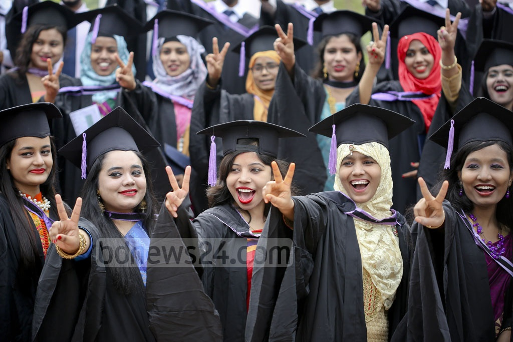 Their smile says it all: Students celebrating their graduation at the 50th Convocation of Dhaka University on Saturday. Photo: asaduzzaman pramanik
