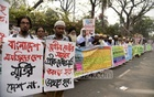 Pro-Awami League organisation Olama League demonstrated in Dhaka on Saturday protesting the Justice Lady sculpture at the Supreme Court premises.
