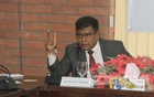 This March 2017 bdnews24.com photo shows BIMSTEC Secretary General General Sumith Nakandala speaking at a discussion in Dhaka.