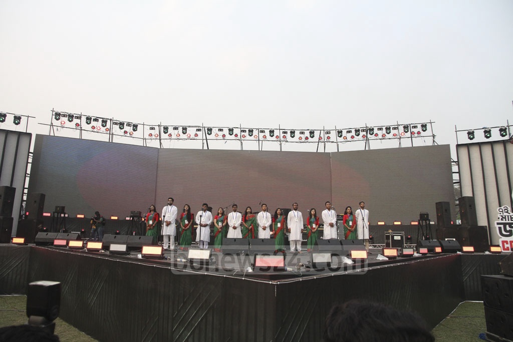 The 'Joy Bangla Concert' marking the historic March 7 began with the singing of the national anthem on Tuesday at Dhaka's Army Stadium. Photo: tanvir ahammed