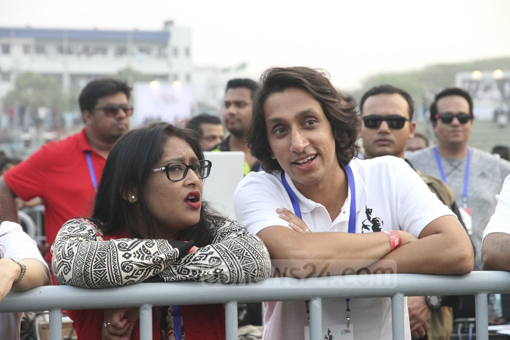 Prime Minister's daughter Saima Wajed Hossain Putul and her cousin Radwan Mujib Siddiq Bobby attend the Joy Bangla Concert at the Army Stadium on Tuesday. Photo: tanvir ahammed
