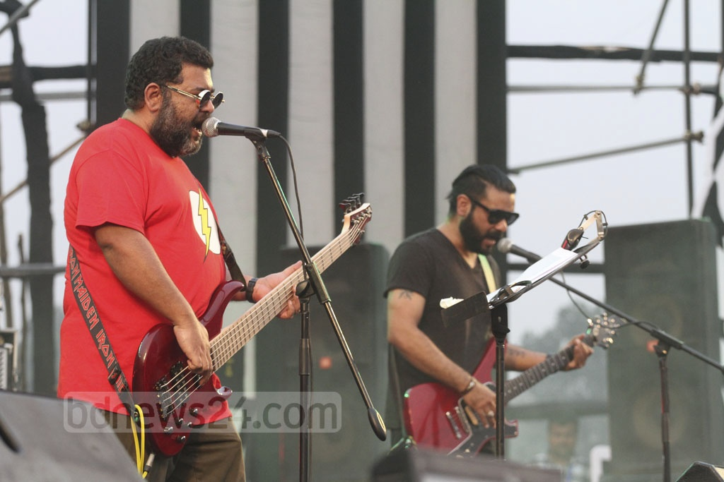 Local music band performing at the Joy Bangla Concert at the Army Stadium on Tuesday. Photo: tanvir ahammed