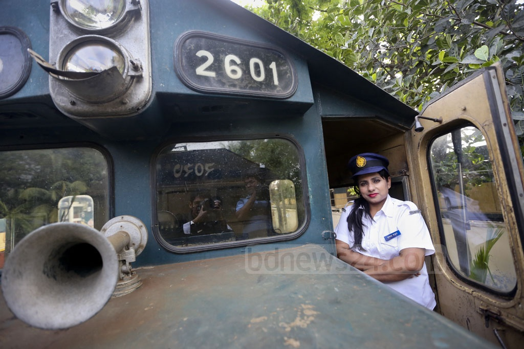 Train driver Salma Khatun became an example of women emancipation and progress in Bangladesh. She broke the barrier in 2004 to become the first female train driver in Bangladesh. She was the only female train driver in the country for seven years. Many women followed her footsteps later and the number of female locomotive drivers has risen to 15. This photo of sub-loco-master Salma is taken at Kamlapur Railway Station on Tuesday, the day before the International Women's Day. Photo: asaduzzaman pramanik