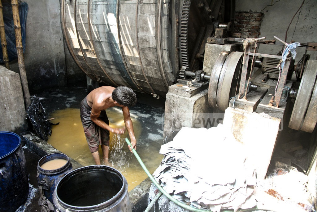 Bustling inner-city tanneries in Hazaribagh visited by bdnews24.com on Tuesday, a day after the court ordered to snap gas, electricity and water supplies to the factories in a bid to shut down the tannery factories inside the capital. Photo: tanvir ahammed