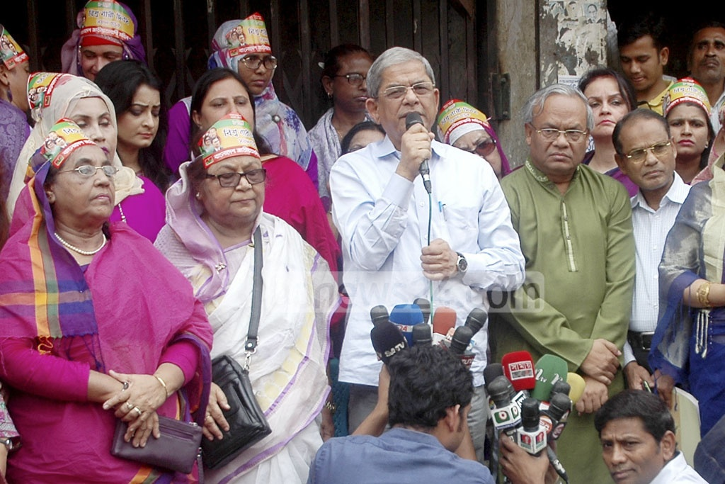 BNP Secretary General Mirza Fakhrul Islam Alamgir addressing the rally organised by the Bangladesh Jatiyatabadi Mohila Dal in front of Naya Paltan party office in the capital on Wednesday on the occasion of International Women's Day.