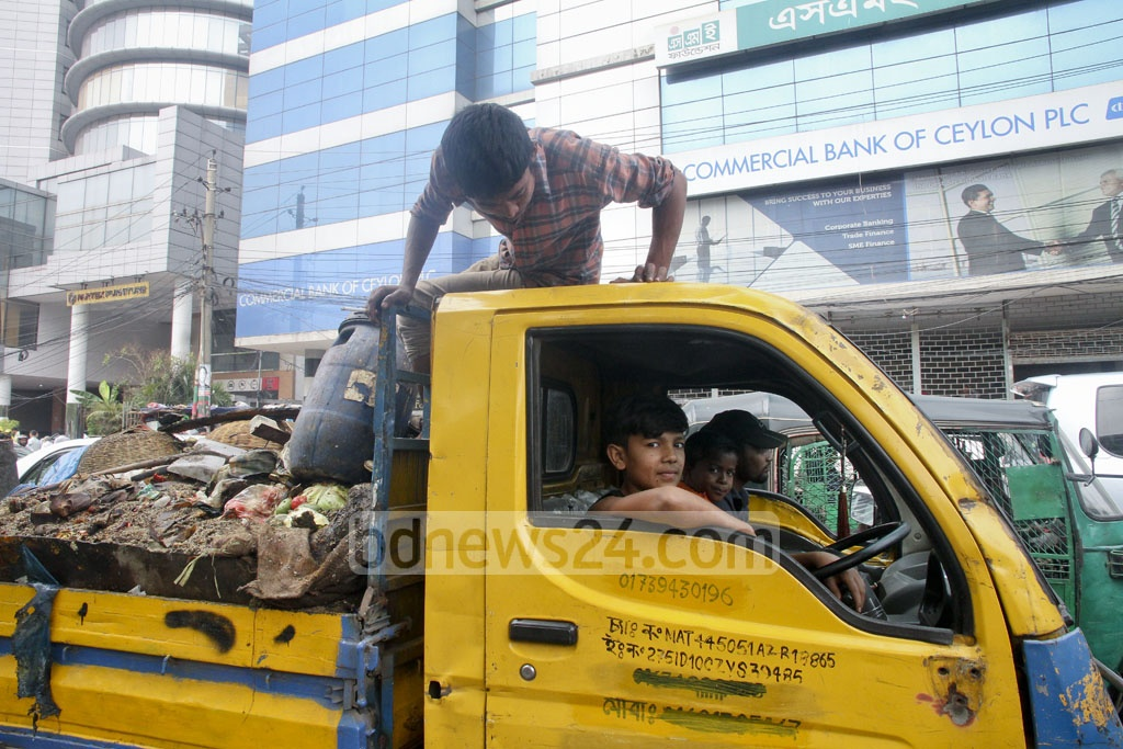 The owner of the garbage truck is Sohag's uncle, who rented the vehicle to the city corporation, where Sohag's grandfather is an employee; so the duty to drive it from Karwan Bazar is on the 13-year-old boy now. Asked what he would do if the police caught him, he simply replied,