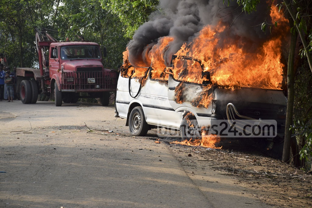 A van is set on fire by angry locals at Comilla Sadar Upazila after a man was killed in a motorcycle crash on Friday.