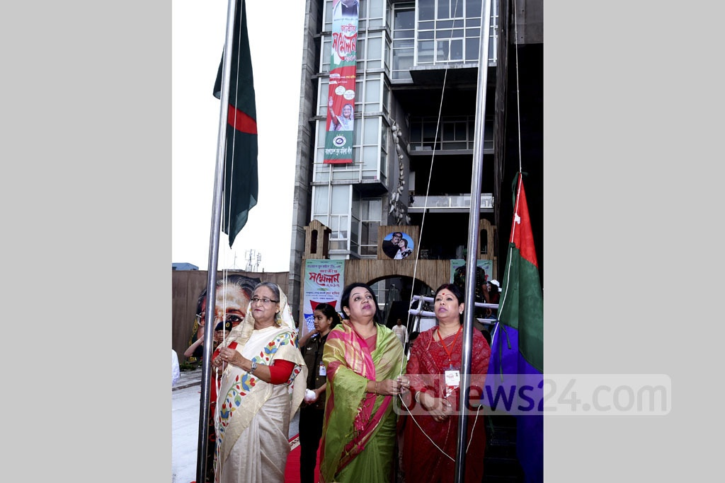 Prime Minister Sheikh Hasina inaugurates the Juba Mahila League conference at Krishibid Institute Auditorium on Saturday. Photo: Saiful Islam Kallol
