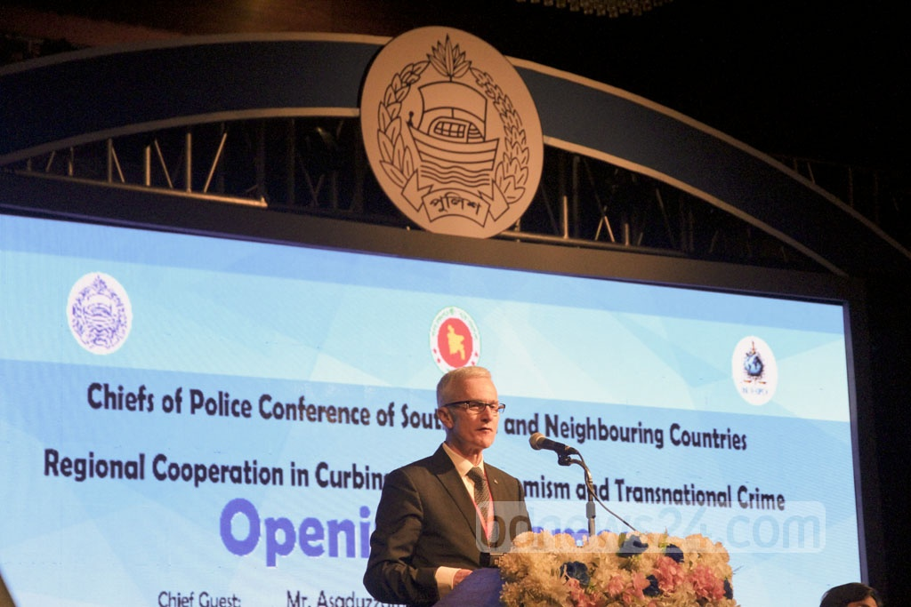 Interpol Secretary General Jürgen Stock speaks at the inauguration of an international police conference on countering militancy, terrorism and transnational crime on Sunday in Dhaka. Photo: tanvir ahammed