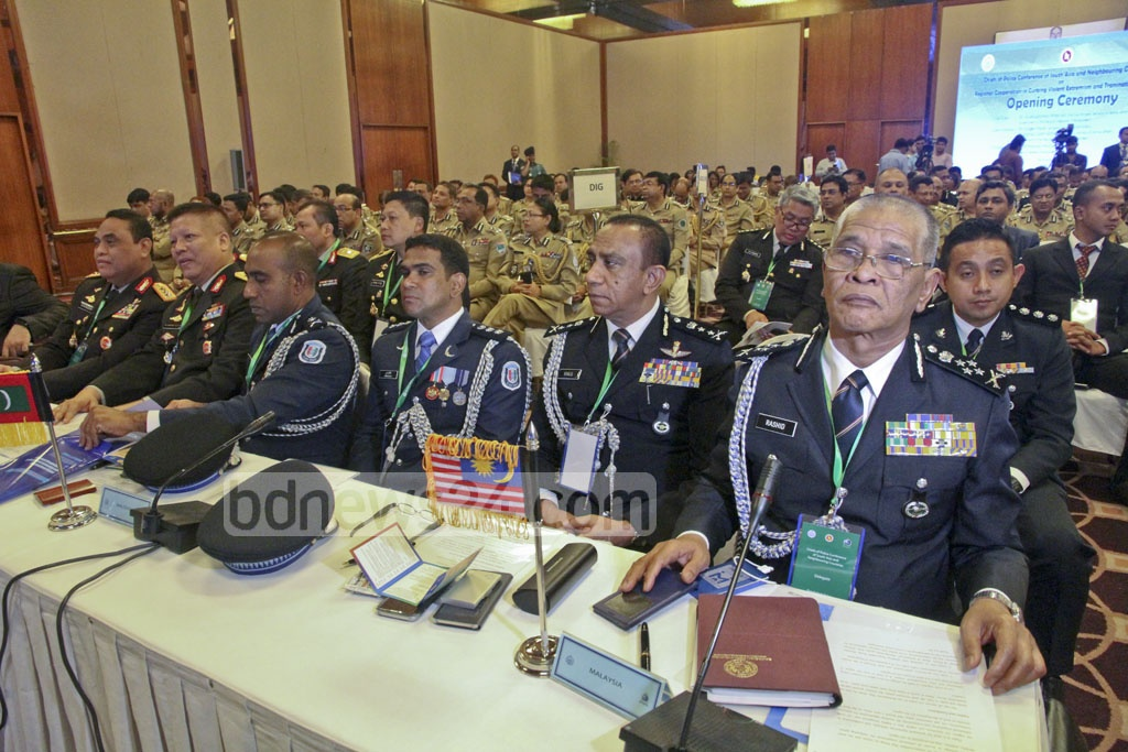 A three-day conference of police chiefs and other law enforcement officers from 15 countries started in Dhaka on Sunday. The participants are discussing issues of militancy, terrorism and transnational crime. Photo: tanvir ahammed