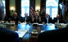 US President Donald Trump (C), flanked by Interior Secretary Ryan Zinke (from L), Secretary of State Rex Tillerson, Defense Secretary James Mattis and Commerce Secretary Wilbur Ross, holds a cabinet meeting at the White House in Washington, US Mar 13, 2017. Reuters
