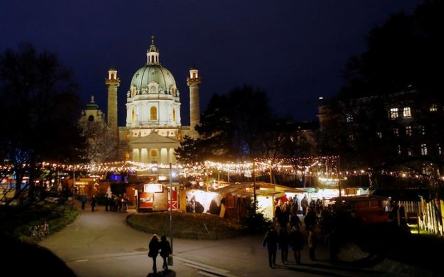 FILE PHOTO: An advent market is seen in front of Karlskirche church in Vienna, Austria, December 15, 2016. Reuters