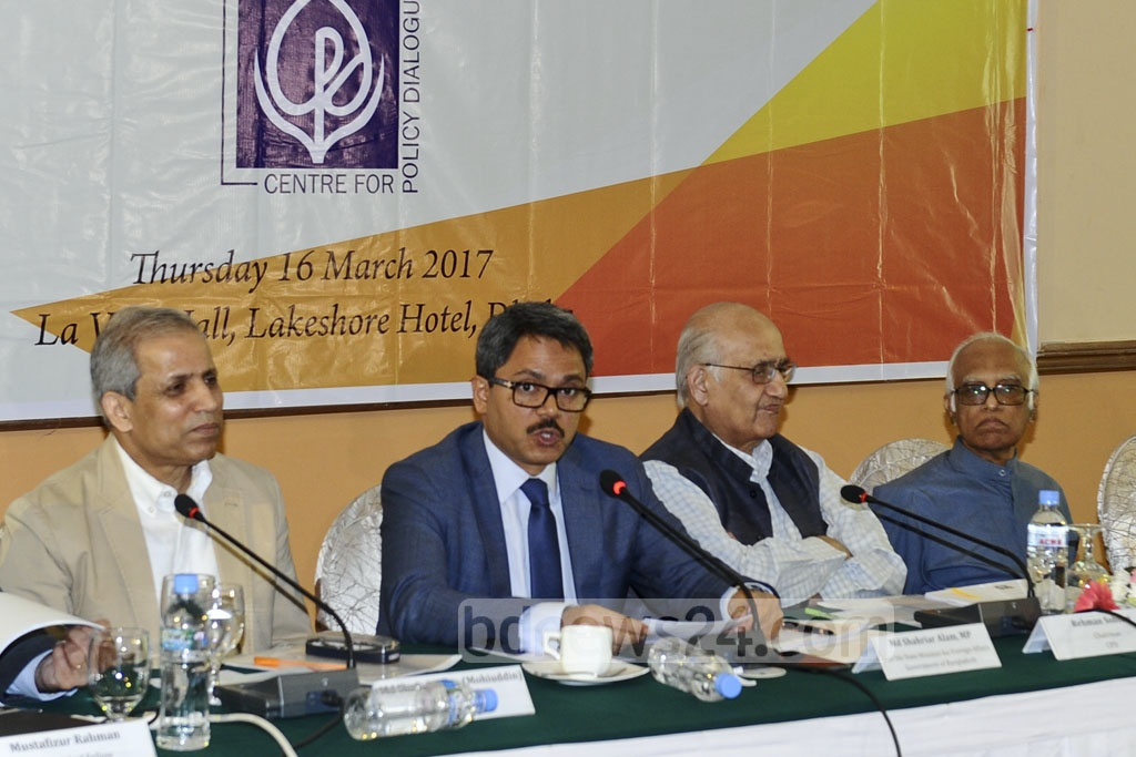 State Minister for Foreign Affairs Shahriar Alam takes part in dialogue organised by the CPD at Dhaka's Lakeshore Hotel on Thursday.