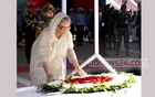 Prime Minister Sheikh Hasina placing wreath on Bangabandhu's burying place at Tungiparha in Gopalganj on his 97th birth anniversary on Friday. Photo: PID