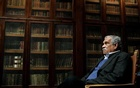 Literature Nobel laureate Derek Walcott sits inside the library of Oviedo's University, March 2006. Reuters